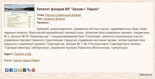 Каталог фондов архива г. Перми