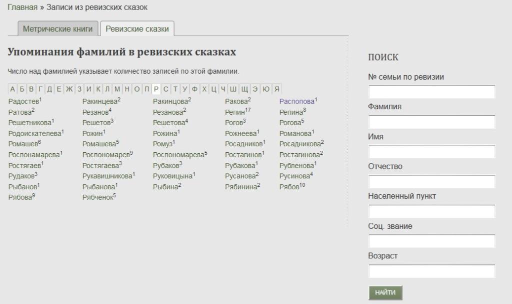 Поиск предков по результатам переписи населения 1834 года в Пермской губернии