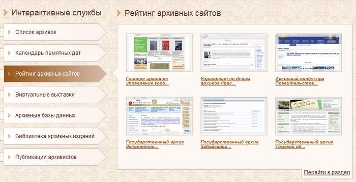 Рейтинг архивных сайтов