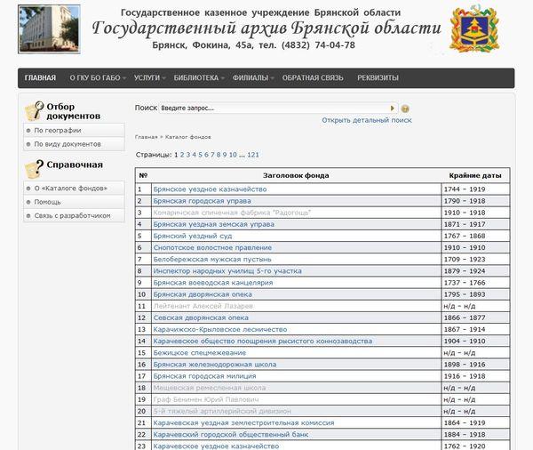 Государственный архив Брянской